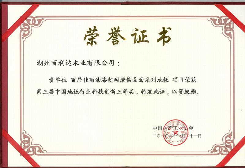 第三届中国地板行业科技创新奖三等奖